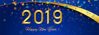 Beautiful Banner Happy New Year 2019 text design