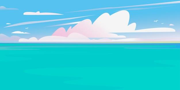 美しいバナー海と空の雲クルーズ旅行の背景夏の海のプリント太平洋