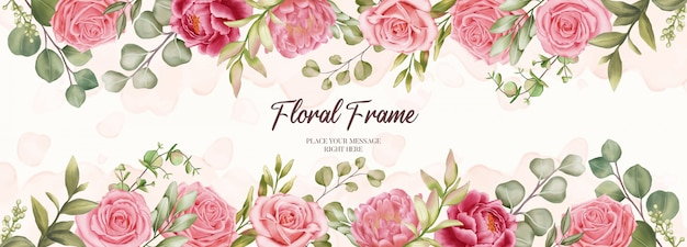 Beautiful banner for wedding invitation with floral frame background
