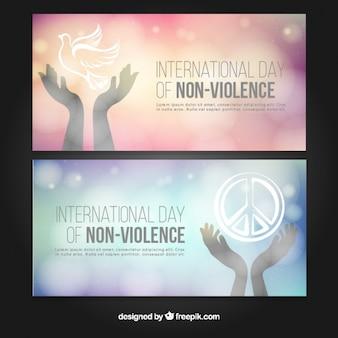 非暴力の日のための美しいバナー