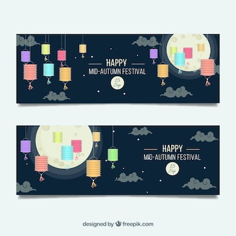 Beautiful banners of mid-autumn festival