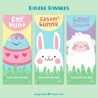 Beautiful banners with easter characters