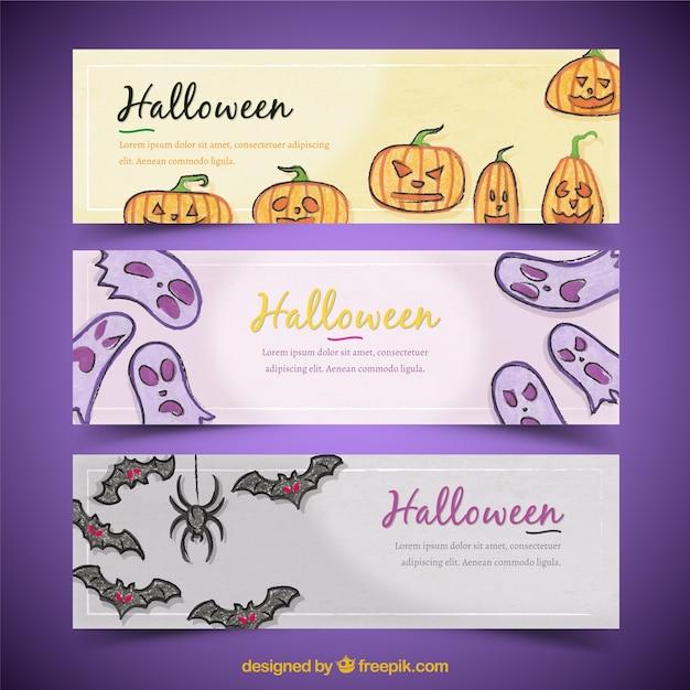 Belle striscioni con elementi di halloween