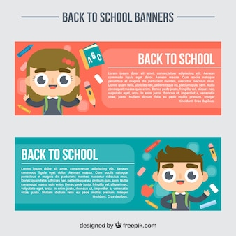 Beautiful banners with happy students