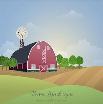Bella granaio in un paesaggio agricolo