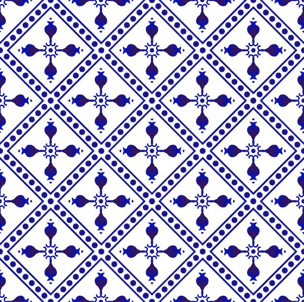 아름다운 바틱 패턴 말레이시아와 인도 스타일, 도자기 인디고 원활한 패턴