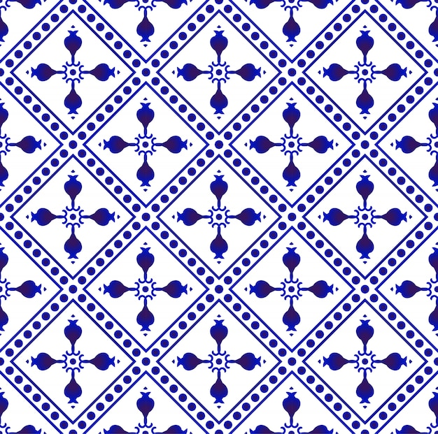 Beautiful batik patterns malaysia and india style, porcelain indigo seamless pattern