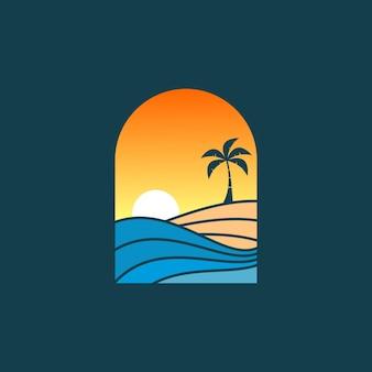 아름 다운 해변 풍경 로고 디자인 벡터 일러스트 레이 션