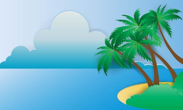 フレームベクトルイラストと美しいビーチペーパーアートスタイル