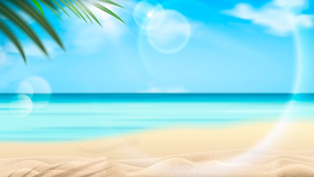 Beautiful beach resort scene with palm tree and clear ocean water in 3d illustration