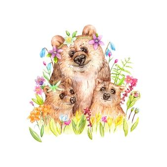 꽃과 함께 아름 다운 곰 가족 그림