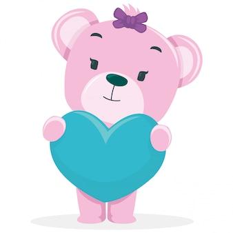 美しいクマはバレンタインデーに贈り物を得る