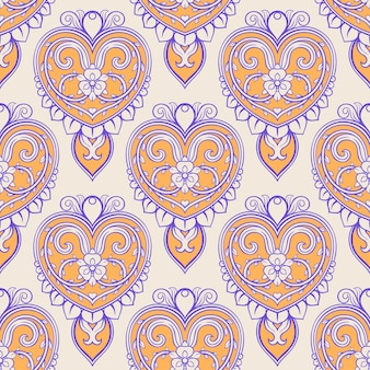 Beautiful beige background with vintage purple and orange hearts and flowers
