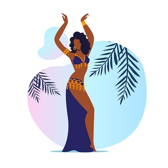 Beautiful belly dancer flat illustration