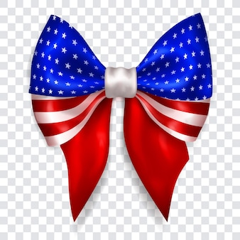 Beautiful big bow in colors of usa flag made of shiny ribbon with shadow on transparent background. transparency only in vector format