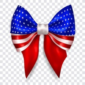 투명한 배경에 그림자가 있는 반짝이는 리본으로 만든 미국 국기 색상의 아름다운 큰 활. 벡터 형식의 투명도