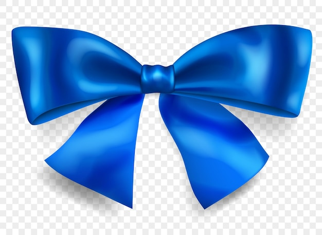 Beautiful big bow made of blue ribbon with shadow, isolated on transparent background. transparency only in vector format