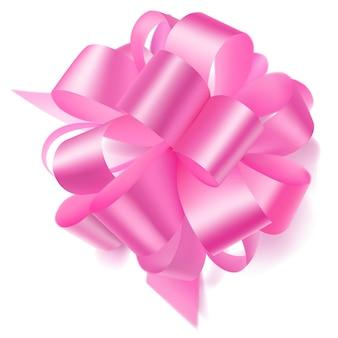 화이트에 그림자와 핑크 리본으로 만든 아름 다운 큰 활