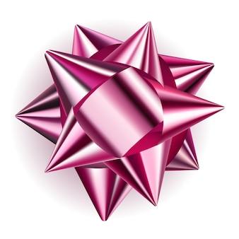 그림자가 있는 분홍색 반짝이 리본으로 만든 아름다운 큰 활