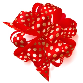 Beautiful big bow made of red ribbon in polka dots with shadow on white background