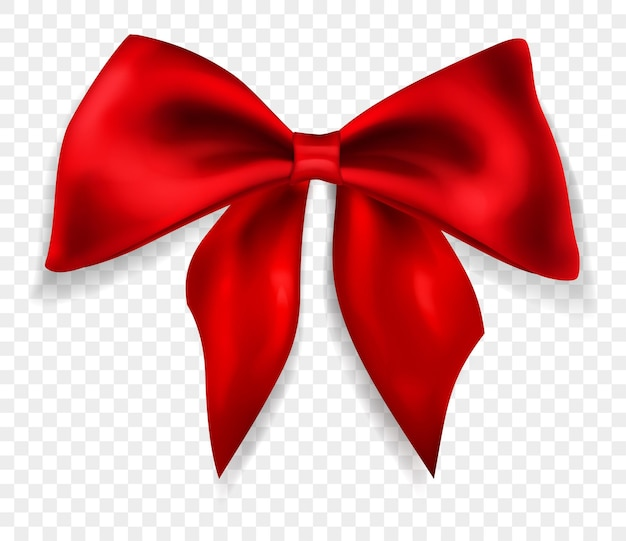 Beautiful big bow made of red ribbon with shadow, isolated on transparent background. transparency only in vector format