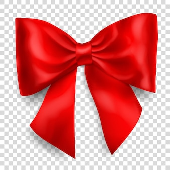 Beautiful big bow made of red ribbon with shadow on transparent background