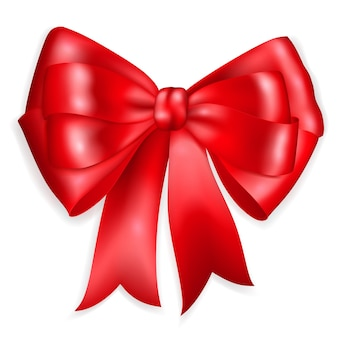 Beautiful big bow made of red ribbon