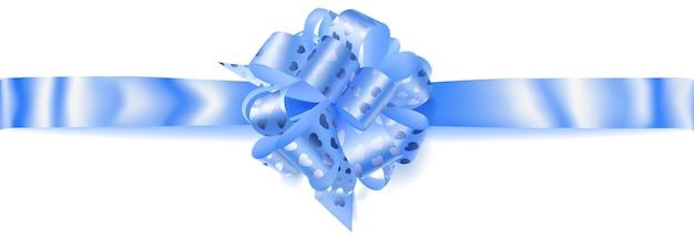 흰색 배경에 그림자가 있는 작은 반짝이는 하트가 있는 밝은 파란색 리본으로 만든 아름다운 큰 수평 활