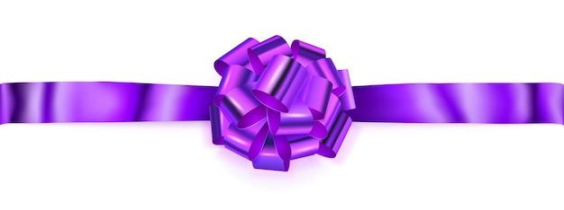 Beautiful big horizontal bow made of purple shiny ribbon with shadow on white background