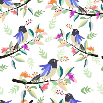 Beautiful bird on branch with flower seamless pattern.