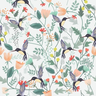 Beautiful bird in flower forest seamless pattern.
