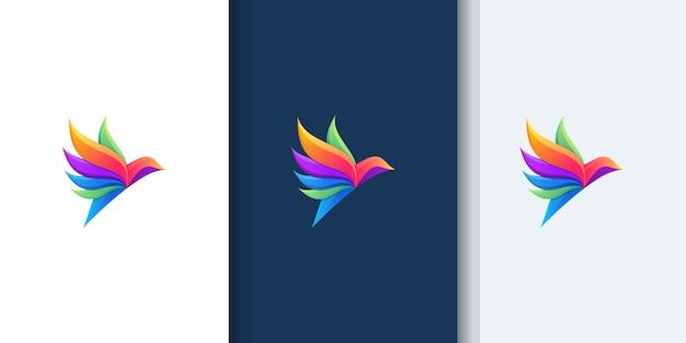 デザインのインスピレーションのための美しい鳥のグラデーションのロゴ