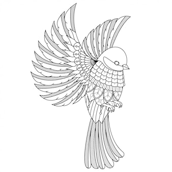 Beautiful bird illustration, mandala zentangle in lineal style coloring book