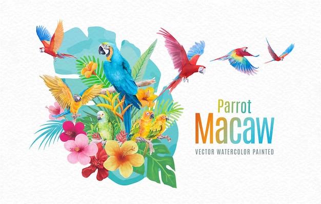 美しい鳥のオウムコンゴウインコと葉の手の花は、紙のテクスチャの白い背景に水彩をペイントします。