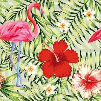 美しい鳥ピンクフラミンゴ、ハイビスカスとプルメリア