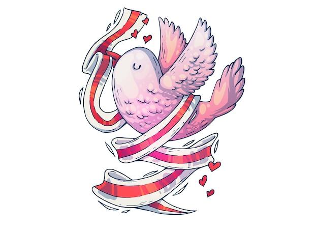 リボン付きの美しい鳥。創造的な漫画のイラスト。