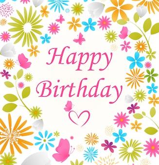 Beautiful birthday card with flower