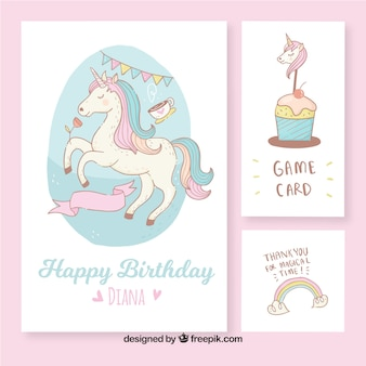 Beautiful birthday cards with hand drawn unicorn