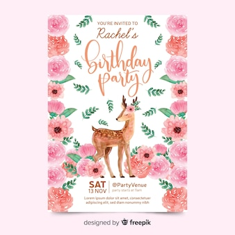 Beautiful birthday invitation with deer