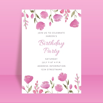 Beautiful birthday party invitation card with floral