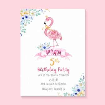 Beautiful birthday party invitation template with hand painted watercolor flamingo and flower illustration