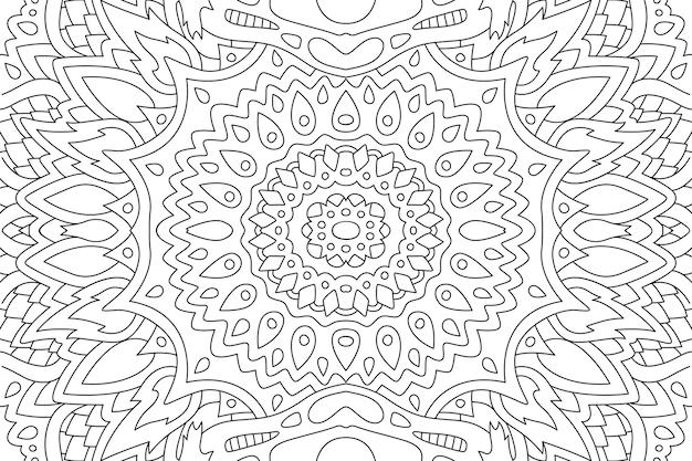 Красивая черно-белая иллюстрация для взрослых раскраски страницы книги с абстрактным восточным линейным узором прямоугольника