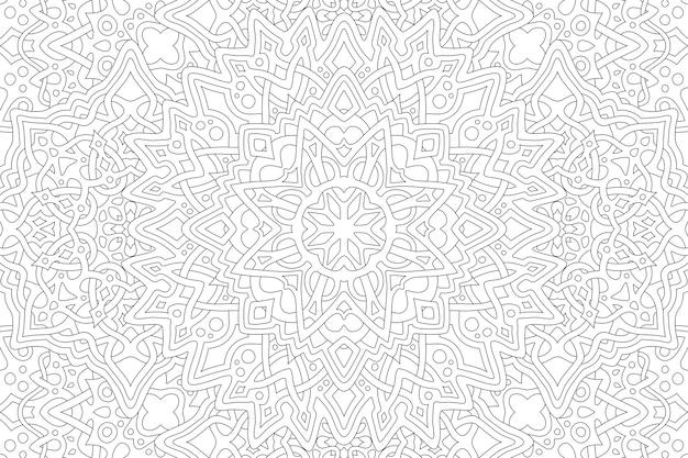 Красивые черно-белые иллюстрации для взрослых раскраски страницы книги с абстрактным линейным узором прямоугольника