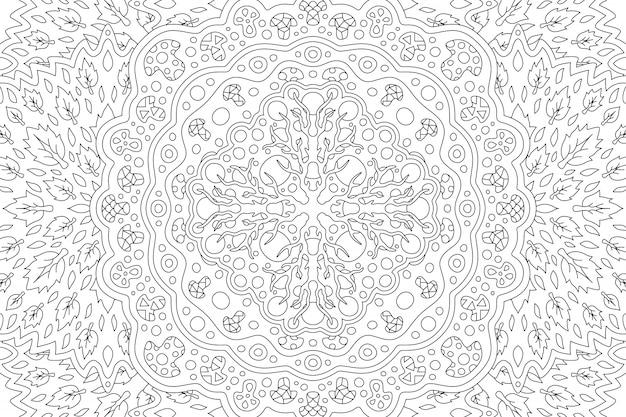Красивая черно-белая иллюстрация для взрослых раскраски с племенным линейным цветочным узором с корневыми листьями и грибами