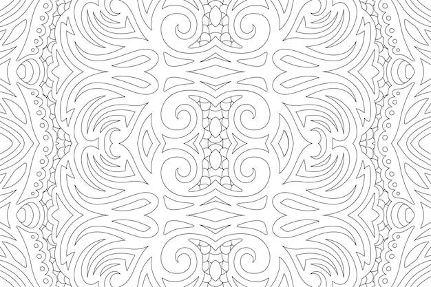 Красивые черно-белые иллюстрации для книжки-раскраски с винтажным линейным бесшовные модели