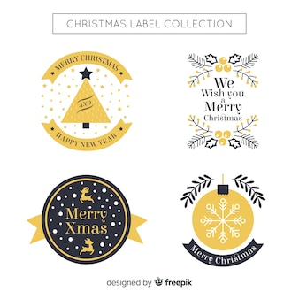 Beautiful black and golden christmas badge collection