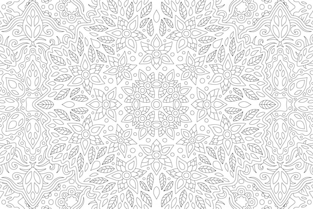 Beautiful black and white illustration for adult coloring book with rectangle linear floral pattern