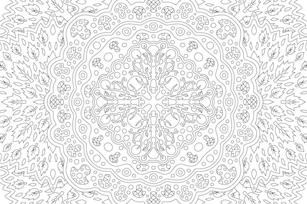 Beautiful black and white illustration for adult coloring book with tribal linear floral pattern with root leaves and mushrooms
