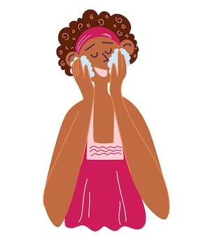 아름 다운 흑인 여자는 그녀의 얼굴을 씻는다. 화장품 클렌징 젤을 사용하는 어두운 피부의 아프리카 소녀. 아침저녁 셀프케어 루틴. 만화 벡터 일러스트 레이 션 흰색 배경에 고립입니다.