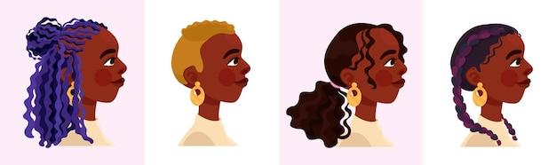 Красивая темнокожая женщина с четырьмя разными современными прическами